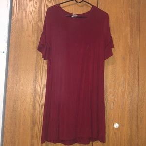 Maroon t-shirt dress with ruffle sleeve detail